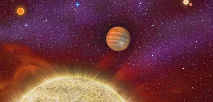 Wizja artystyczna układu 30 Ari, w centralnej części widać jedyną (znaną) egzoplanetę układu / Credits - Karen Teramura, UH IfA
