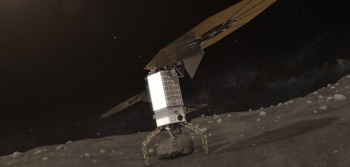 Wizja misji fazy bezzałogowej - sonda przechwyca głaz z powierzchni planetoidy / Credits - NASA
