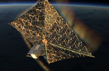 PW-Sat 2 z rozłożonym żaglem - wizja artystyczna / Credits: Studenckie Koło Astronautyczne