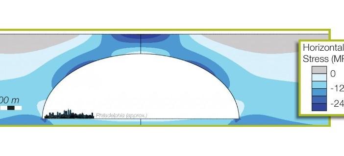 Teoretyczny rozkład naprężeń dookoła dużego tunelu lawowego / Credits - Purdue University/courtesy of David Blair