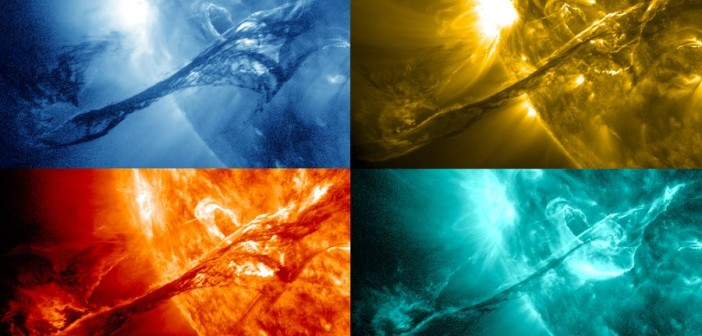 Koronalny wyrzut masy z 31 sierpnia 2012 na różnych falach pasma rentgenowskiego, uchwycone przez sondę SDO / Credits - NASA