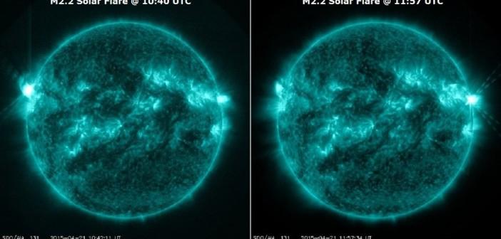 Przykłady rozbłysków z 21 kwietnia: z nowej grupy przy wschodninm brzegu Słońca (lewe zdjęcie) oraz z grupy 2322 (prawe zdjęcie) / Credits- NASA, SDO, Solarham.net