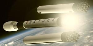 Rakieta Falcon Heavy - odrzucenie rakiet bocznych / Credit: SpaceX