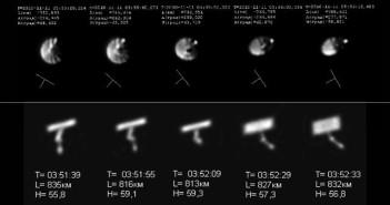 Satelity Lacrosse zaobserwowane przez Ałtajskie Centrum Optyki Laserowej. Lacorsse 4 u góry, Lacrosse 5 u dołu / Credit: Foto: V.P. Aleshin, E.A. Grishin, V.D. Shargorodsky, D.D. Novgorodtsev