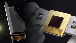 Wizja artystyczna sondy NEOCam oraz jej sensora / Źródło: NASA/JPL-Caltech