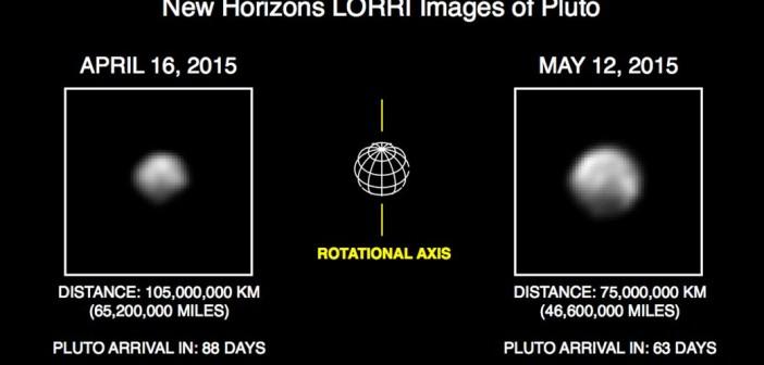 Porównanie obrazów Plutona z 16 kwietnia i 12 maja / Credits - NASA
