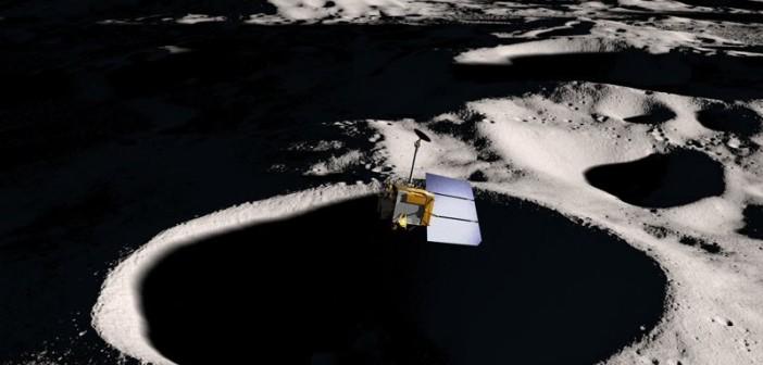 LRO nad południowym biegunem Księżyca - wizualizacja / Credits - NASA