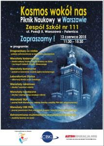 Plakat pikniku Kosmos wokół nas w ZS nr 111 / Credit: Fundacja Edukacji Astronomicznej, Centrum Badań Kosmicznych PAN
