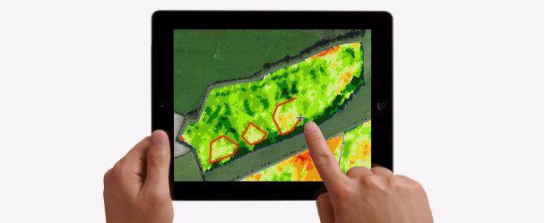 Grafika poglądowa aplikacji seeCrop z obszaru precyzyjnego rolnictwa. Źródło: Max Dafforn, Lucy Bane