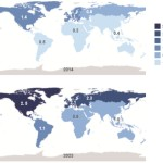 Ilość urządzeń per capita w roku 2014 i 2023 / Credits: GNSS Market Report