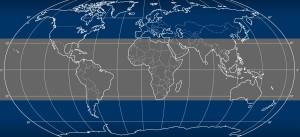 Obszary leżące między 35. równoleżnikiem północnym i południowym / Credit: NASA