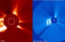 Obrazy z instrumentów LASCO C2 i C3 sondy SOHO z 6 lipca / Credits - NASA, ESA, SOHO