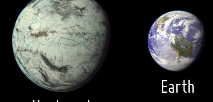 Wizja artystyczna egzoplanety Kapteyn b i jej porównanie do Ziemi / Credits - The Planetary Habitability Laboratory/University of Puerto Rico at Arecibo
