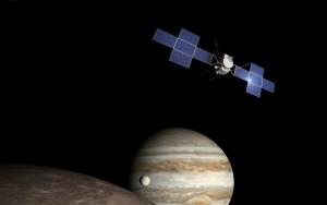 Sonda JUICE przy księżycach Jowisza - wizualizacja / Credit: Airbus Defence & Space