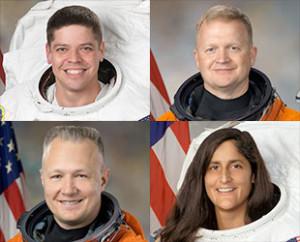 Astronauci wybrani do lotów testowych programu Commercial Crew (z góry od lewej): Robert Behnken, Eric Boe, Douglas Hurley i Sunita Williams / Credits: NASA