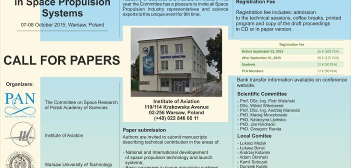 Plakat informacyjny o konferencji / Credits - organizatorzy Development Trends in Space Propulsion Systems