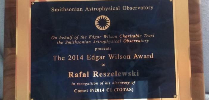Rafał Reszelewski received the Edgar Wilson Award