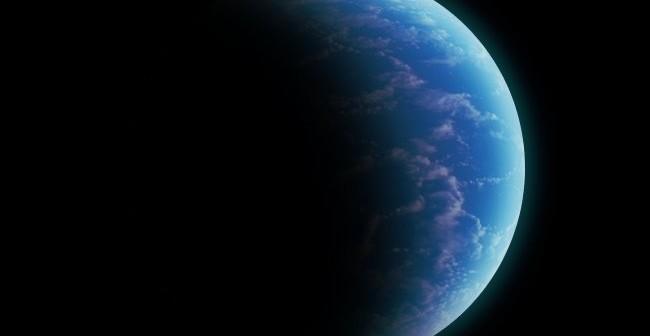 Grafika przedstwiająca małą oceaniczną egzoplanetę z niewielką ilością chmur / Credits - K. Kanawka, Kosmonauta.net