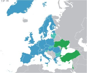 ESA Member States (dark blue), European Cooperating States (light blue) and Associate States (green) / Credits – Ssolbergj, wikipmedia commons