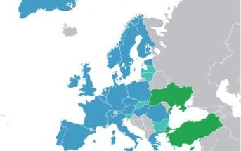 ESA Member States (dark blue), European Cooperating States (light blue) and Associate States (green) / Credits – Ssolbergj, wikipmedia commons