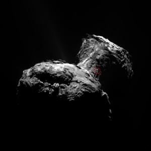 """Region w okolicy """"szyi"""" komety, z którego nastąpił wyrzut gazów i materii. Credits: ESA/Rosetta/MPS for OSIRIS Team MPS/UPD/LAM/IAA/SSO/INTA/UPM/DASP/IDA"""
