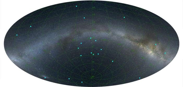 Dystrybucja dalekich GRB analizowanych w tych badaniach przez amerykańsko-węgierski zespół astronomów / Credits - L. Balazs