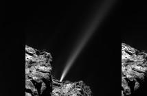 Dżet wydobywający się z komety 67P/Czuriumow-Gierasimienko. Credits: ESA/Rosetta/MPS for OSIRIS Team MPS/UPD/LAM/IAA/SSO/INTA/UPM/DASP/IDA