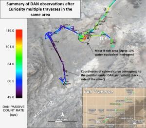 Obszar ostatnich badań łazika MSL. Kolorem czerwonym zaznaczono region z najwyższą koncentracją wodoru. / Credits - NASA/JPL-Caltech/Russian Space Research Institute