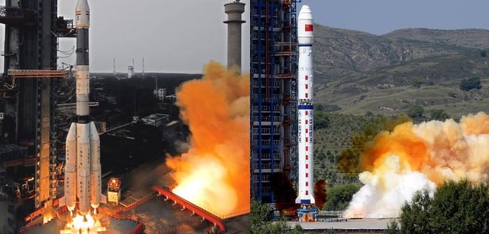 Starty dwóch rakiet z 27 sierpnia - GSLV i CZ-4C / Credits - ISRO i news.cn