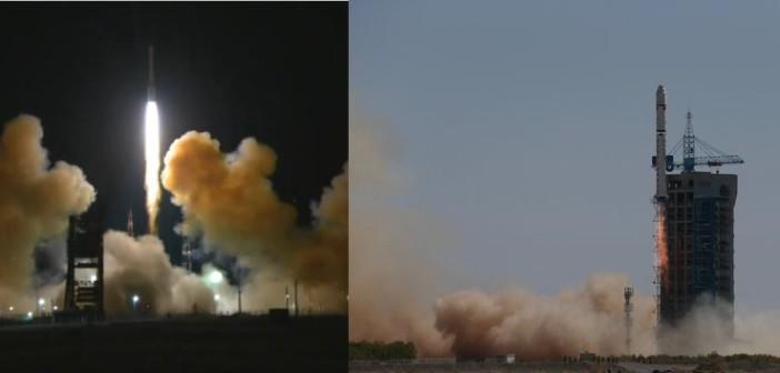 Starty Protona-M (po lewej) i CZ-2D (po prawej) - 14.09.2015 / Credits - tsenki, zz.81.cn