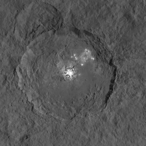 Krater Occator na Ceres z tajemniczymi jasnymi obszarami w swoim wnętrzu. Credits: NASA/JPL-Caltech/UCLA/MPS/DLR/IDA