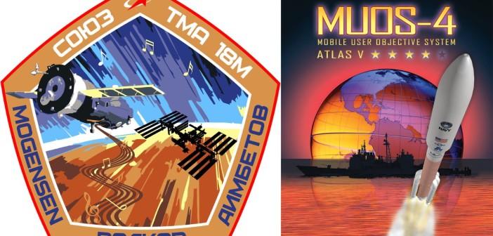 Emblematy misji Sojuz TMA-18M i MUOS-4 / Credits - Roskosmos, ULA - US Navy