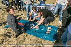Stan rakiety H1d po locie i po lądowaniu oraz po wydobyciu / Credits - conpassione.pl