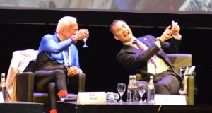 Buzz Aldrin and Soichi Noguchi take a selfie at IAC 2015 / Credits - Krzysztof Kanawka, Blue Dot Solutions