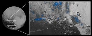 Ekspozycja lodu wodnego na powierzchni Plutona / Credits - NASA/JHUAPL/SwRI