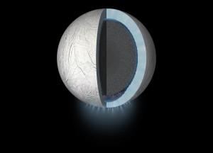 Prawdopodobny przekrój przez strukturę wewnętrzną Enceladusa / Credits - NASA