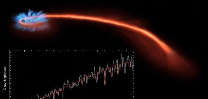 Artystyczna wizja rozrywania gwiazdy w obiekcie ASASSN-14li. Źródło: NASA/CXC/U. Michigan/J. Miller et al.; Illustration: NASA/CXC/M. Weiss