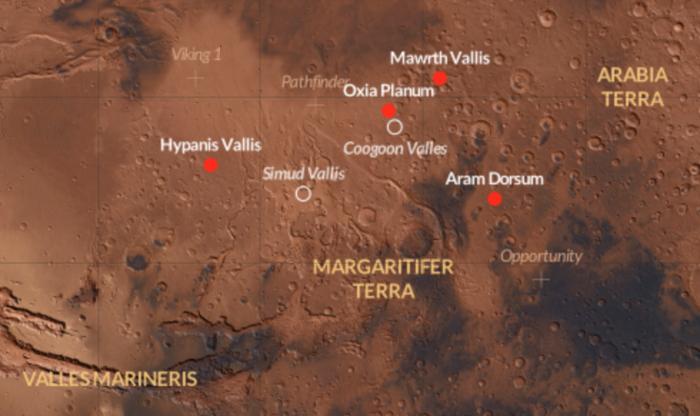 Kandydaci na lądowisko dla ExoMars 2018. Preferowanym miejscem do lądowania jest region zwany Oxia Planum. Credits: ESA/CartoDB