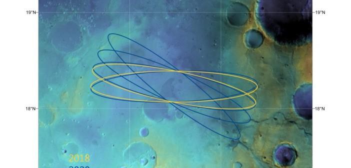Strefy lądowania na Oxia Planum. Credits: ESA/DLR/FU Berlin & NASA MGS MOLA Science Team