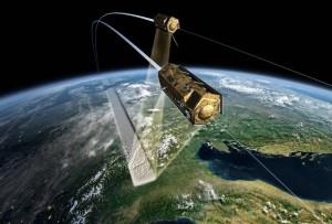 TanDEM-X w locie w formacji z TerraSAR-X / Credit: DLR