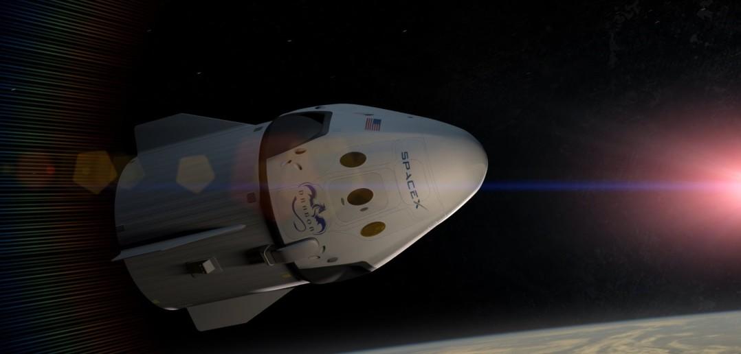 Załogowy Dragon w kosmosie - wizualizacja / Credit: SpaceX