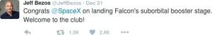 """Jeden z """"docinków"""" Jeff'a Bezosa w kierunku Elona Muska z nawiązaniem do udanego lądowania rakiety New Shepard / Credits - Twitter"""