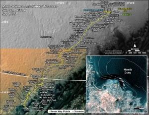 Trasa MSL od początku misji. Stan na sol 1196 (ok 18 grudnia 2015) / Credits - NASA/JPL-Caltech/Univ. of Arizona