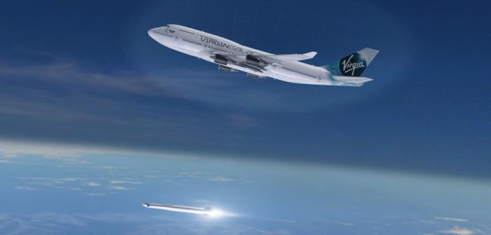 Start LauncherOne z Boeinga 747 - wizualizacja / Credit: Virgin Galactic