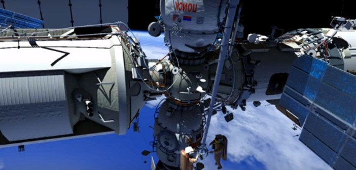 Zrzut ekranu z animacji pokazującej przebieg spaceru kosmicznego EVA-42 / Źródło: NASA TV