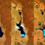 Proba-V i jezioro Poopo. Od lewej, zdjęcie z 2014, 2015 i 2016 roku / Credit: ESA/Belspo – produced by VITO