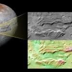 Głębokie twory na powierzchni Charona i porównanie ich wysokości (wartość w milach) / Credits - NASA/JHUAPL/SwRI