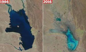 Porównanie zdjęć satelitarnych jezioro Poopo z 11 października 1986 i 16 stycznia 2016 roku / Credit: USGS