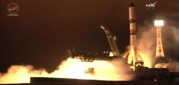 Start rakiety Sojuz-2.1a z Progressem MS-02 / Credits - Roskosmos, NASA TV