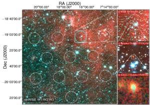 Zdjęcie pokazujące pola widzenia różnych obserwatoriów. Po lewej podgląd z Parkes Radio Telescope. Po prawej kolejne, coraz bardziej szczegółowe ujęcia przedstawiające rejon błysku radiowego (na dole po prawej zdjęcie z teleskopu Subaru z elipsami wskazującymi obszar obserwowanego spadku jasności po detekcji błysku). Źródło: D. Kaplan (UWM), E. F. Keane (SKAO).